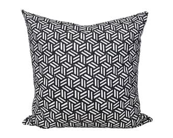 Tumbling Blocks Black designer pillow cover - Schumacher Miles Redd collection - 1 SIDED OR 2 SIDED - Made to Order - Choose Your Size