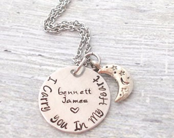 Personalized Memorial Necklace, I Carry You In My Heart, Child Name Necklace