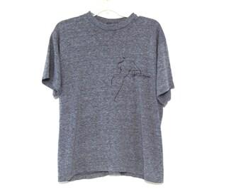 Vintage 80s tshirt heather gray Evan Picone triblend rayon