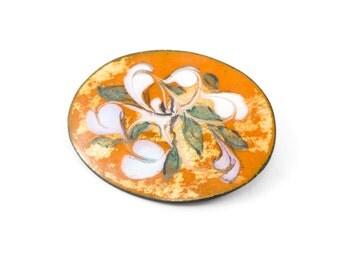 Vintage Enamel on Copper Brooch, Orange Swirl, Modernist