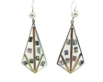 Vintage Mexico Dangle Earrings, White Enamel, Abalone, Brass, Copper, Nickel Silver, Hooks