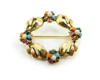 Vintage Multi Stone Brooch, Rhinestones, Faux Pearls, Gold Tone
