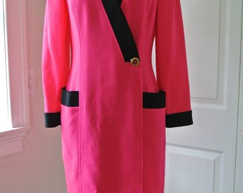 Ungaro Parallel Paris Dress Wool Hot Pink Made in Italy Suit Dress Career 1980s Size 10