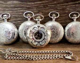 Set of 6 Silver Mixed Groomsmen Pocket Watches Personalized Pocket Watches and Chains Groomsmen Gift Wedding Party Groom Best Man Usher