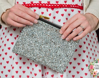 Silver Glitter Clutch Bag, with YKK Zip. Free Gift Wrapping!