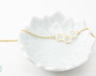 Hexagon bracelet, daity bracelet, gold bracelet, charm bracelet, gold chain bracelet, cute bracelet, friendship bracelet, gold chain