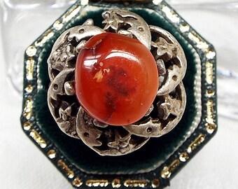 Vintage / Sterling Silver Moon and Star Polished Orange Agate Ring / Adjustable