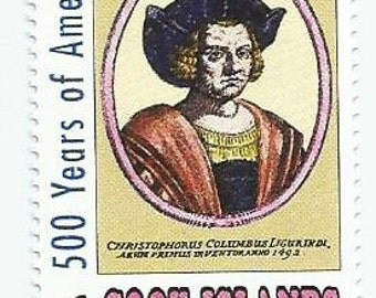 1 Christopher Columbus Mint Postage Stamp From The Cook Islands