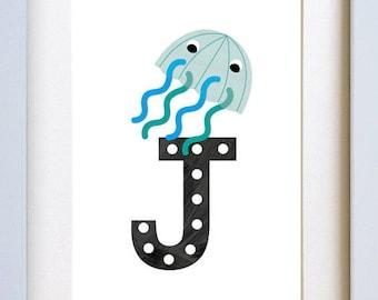 J is for Jellyfish - letter art print