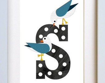 S is for Seagull - art print