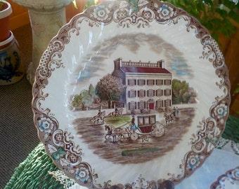 "HERITAGE HALL Dinner Plates ""Georgian Townhouse""  Ironstone Brown Transferware #4411 Ironstone  9.75"" Vintage England 10 available Price One"