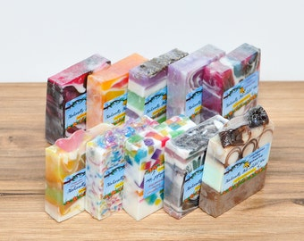10  4 oz Natural Soap Assortment- Melt and Pour Soap- Hand Made Soap- Home Made Soap- Gift Soap- MP Soap- Glycerin Soap- Soap Lot