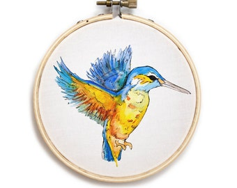 Humming Bird Embroidery Hoop Watercolor Art Print