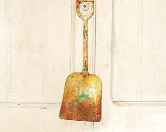 Old Ohio Art Metal Shovel-Well Used Child's Toy-Dump Truck-Rusty Green-Yellow-Kid's Garden Tool-Retro Art Decor-Orphaned Treasure-012617G