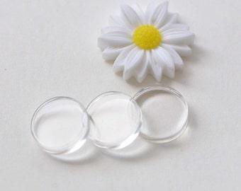 20 pcs Flat Glass Tiles Transparent Round Glass Cover Pendant Cabochon 10mm/12mm/14mm/16mm/20mm/25mm/30mm/40mm