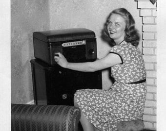 Vintage Photo..What's On the Radio, 1940's Original Found Photo, Vernacular Photography