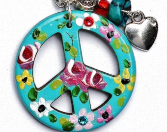 Turquoise Peace Sign Necklace Hand Painted Colorful Flowers Boho Hippie Jewelry FREE SHIPPING
