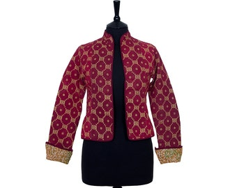 KANTHA JACKET - X Small - Short style - Size 8 - Red and gold. Reverse pale brown and green.