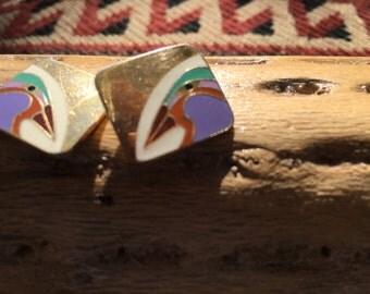 Vintage Laurel Burch Enamel and Goldtone Post Earrings