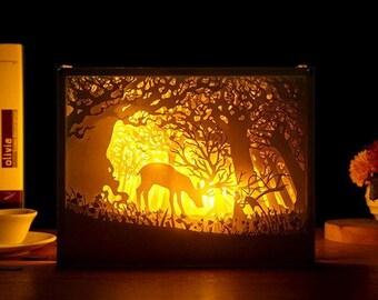 God Beast Handmade Paper Craft 3D Night Light Shadow Box Artwork Frame Decoration DIY