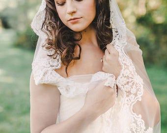 mantilla veil, lace mantilla veil, wedding mantilla, beaded veil, chapel mantilla, chapel length veil with lace edge - GLORIA