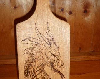 Dragon, Pyrography, solid wood cheese board