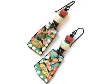 Unusual Ceramic Earrings, Boho Artisan Earrings, Colorful Earrings, Handmade Josephine Beads Turquoise Earrings, Eclectic She Flies Again