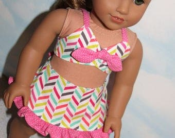 18 Inch Doll (like American Girl) Bright Pink Polka Dot & Chevron Print 2-Piece Ruffled Bathing Suit