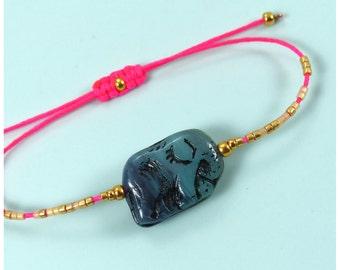 Friendship bracelet with elephant bead - Gold miyuki delica beads - Boho chic macrame jewelry - Spring summer - Gift for her