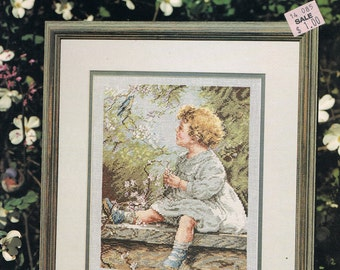 CROSS STITCH PATTERN - Little Girl Sitting On A Stone Wall - Child Cross Stitch -  Song Of The Blue Bird  Leisure Arts #2554