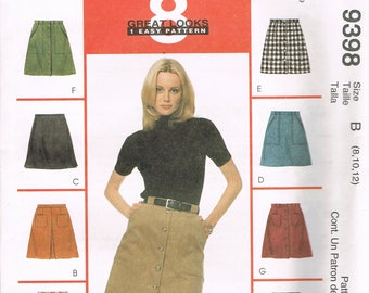 Size 8-12 Misses' Easy Skirt Sewing Pattern - A Line Skirt Pattern - Flared Skirt Sewing Pattern - Short Skirt Pattern - McCalls 9398