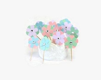 Bling Flower Cupcake Toppers, Pastel Spring Wedding or Birthday Food Picks, Pink, Blue, Green & Purple, Clear Rhinestone Centers, Easter Fun
