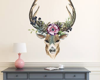 Deer Wall Decal. Full Color Sticker. Antler Wall Decal. Rustic Wall Decal. Rustic Nursery Decor. Deer Head Decal. Boho Style (MA277)