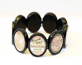 Unique Vintage Fortune Teller Design Black Acrylic Elasticated Tile Bracelet