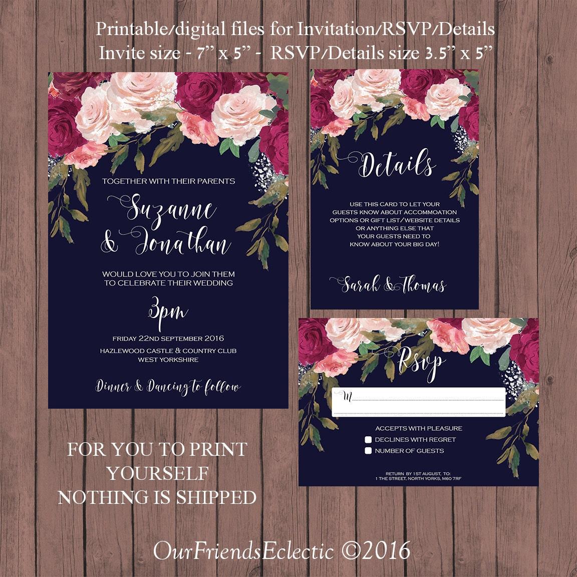 Navy burgundy wedding invitation printable wedding invitation for Digital wedding invitations