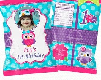 """Owl Favor Bag Printable, Candy Bag, Chip Bag, Treat Bag, Party Bags    Any Age   Girl   4.5"""" x 7""""- YOU PRINT"""