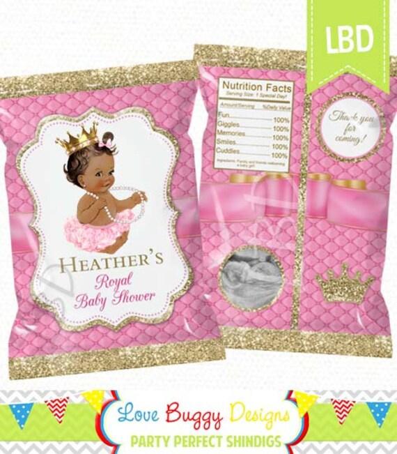 Princess Baby Shower Favor Bags Printable Candy Bag Chip