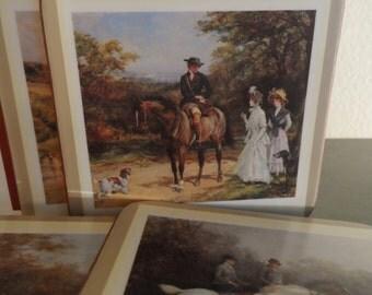 6 VTG English Life Coasters in Original Box English Country Scenes Equestrian 18th Century Scense Home Decor Life New Cork Backside