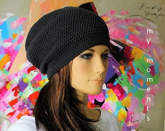 Crochet Beanie Cap Cotton dark grey