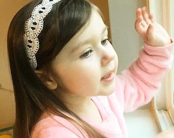 Flower Girl White Lace Tie Back Headband Baby Toddler Kids