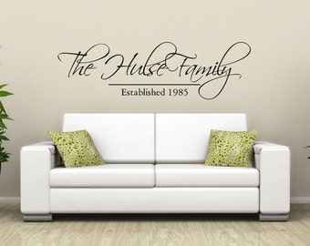 Family name and Established Date - family name sign/ established sign/ personalized wall decal/ family wall decal/ family established/ decor