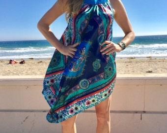 Asian dress,scarf dress, Asian scarf dress,silk scarf,dress,turquoise, green,blue,pink,Dragons