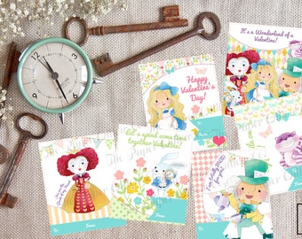 Wonderland Valentine Cards-DIY Printable-Holiday Card-INSTANT DOWNLOAD-Holidays-Valentine-Mustache