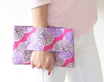 Wax clutch bag, wrist wallet, pink, ethnic bag, african style,handbag,pouch bag, purse, handmade, France, summer fashion, accessory, mylmelo