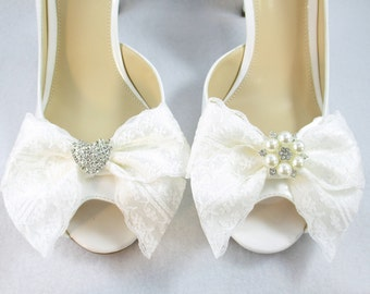 Pearl Shoe Clips, Ivory Or White Bridal Pearl Shoe Clips, Rhinestone Shoe Clips, Satin Shoe Clips, Formal Shoe Decoration, Shoe Accessories