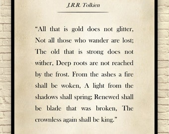lord of the rings lord of the rings quote custom art print book - Book Page Print