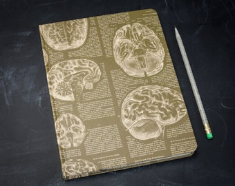 Anatomical Brain Hardcover Journal | Sketchbook Notebook Nurse Blank & Lined Recycled Paper Anatomy Doctor Science Medical Psychology Gift