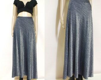 Vintage 70s Metallic Skirt High Waist Retro Glitter Hippie Long Length Vtg 1970s Size S-M
