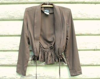 Vintage 70s Jacket Top Gathered Boho Retro Semi Sheer Brown Hippie Boho Vtg 1970s Size XS-S