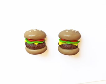 Hamburger Magnets - Food Magnets - Cheeseburger Magnets - Polymer Clay Magnets - Refrigerator Magnet - Miniature Food - Kitchen Magnets